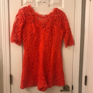 Coral red lace romper